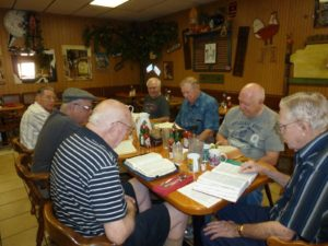 Men's Bible Study group meet for breakfast